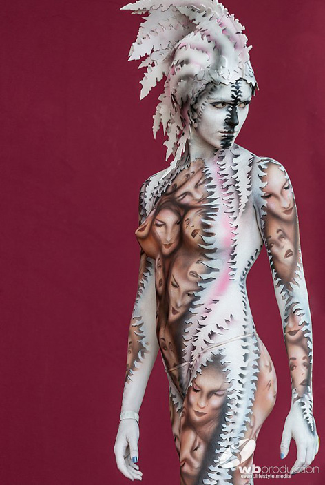 Podio per il lavoro di body painting al  World Bodypainting Festival, 2017.
